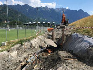 Anbindung des eingezogenen Rohrstrangs an die bestehende Leitung