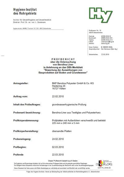 Grundwasserhygienische Prüfung - Externe Prüfberichte
