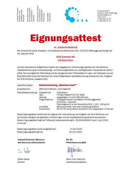 Eignungsattest QUIK CH GKS Cahenzli