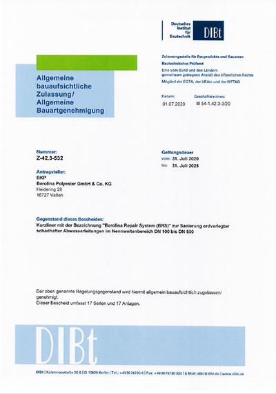 DIBt Zulassung Berolina-Repair-System